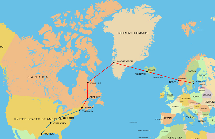 Seabee Stories Seabee Ferry Flight From USA To Sweden - Norway to usa map